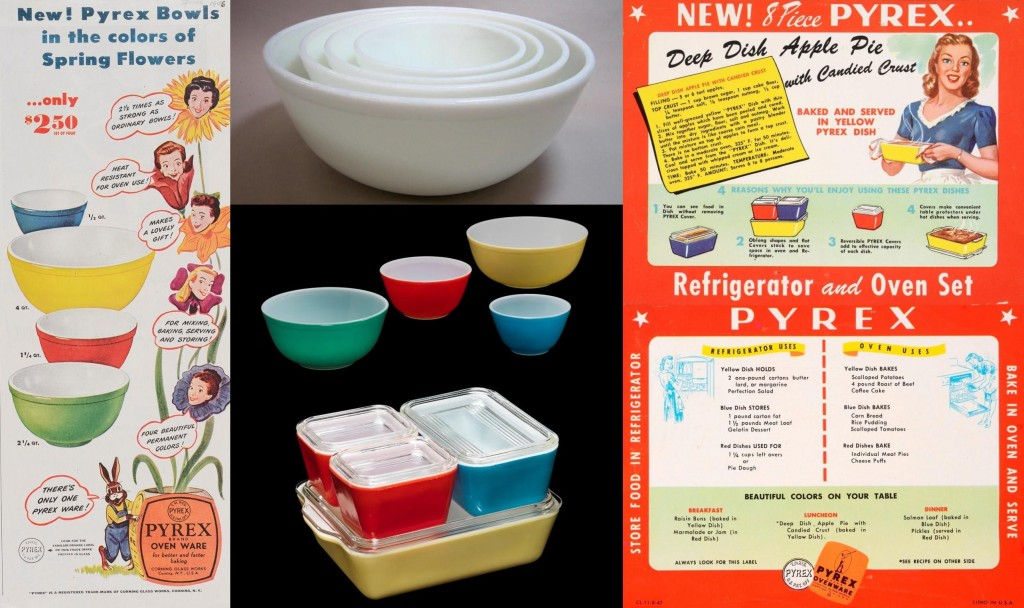 """New! Pyrex bowls in the colors of spring flowers"" Advertisement from Corning Glass Works."