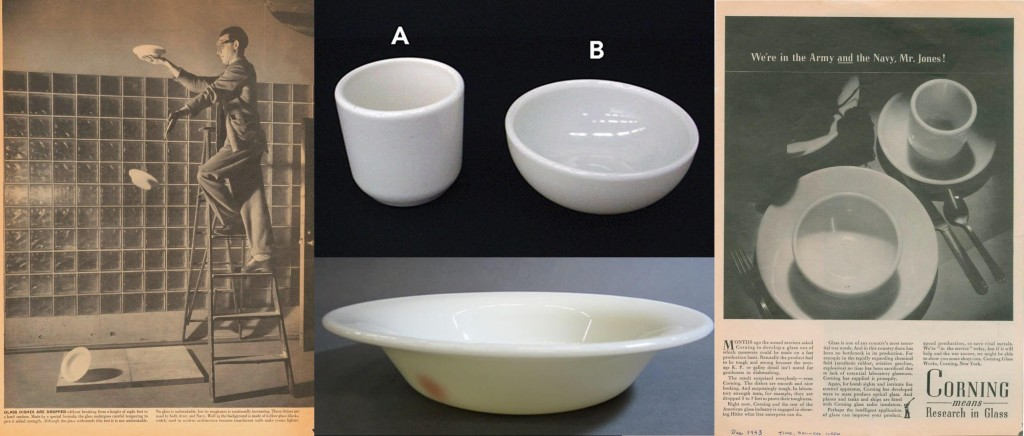 "Photo of glass dishes being dropped from the article ""Glass: Oldest American Industry Finds Many New Uses""."