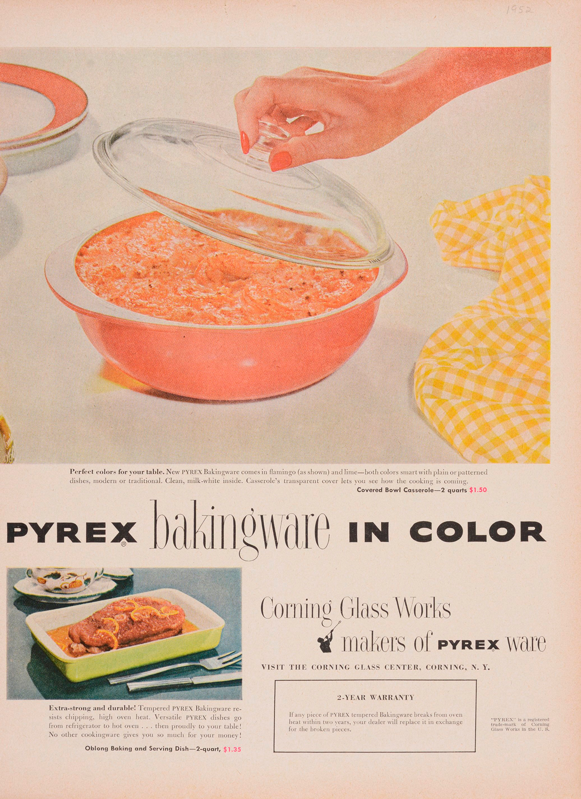 """Pyrex bakingware in color."" Advertisement from Corning Glass Works, published in unknown periodical, sometime in 1952. CMGL 141103."