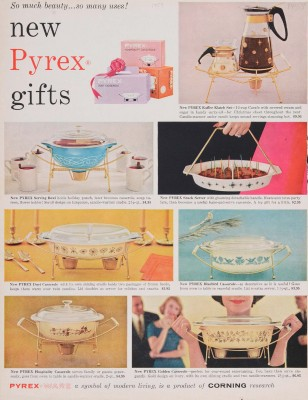 """""""New Pyrex gifts."""" Advertisement from Corning Glass Works, published in unknown periodical, sometime in 1959. CMGL 141182."""