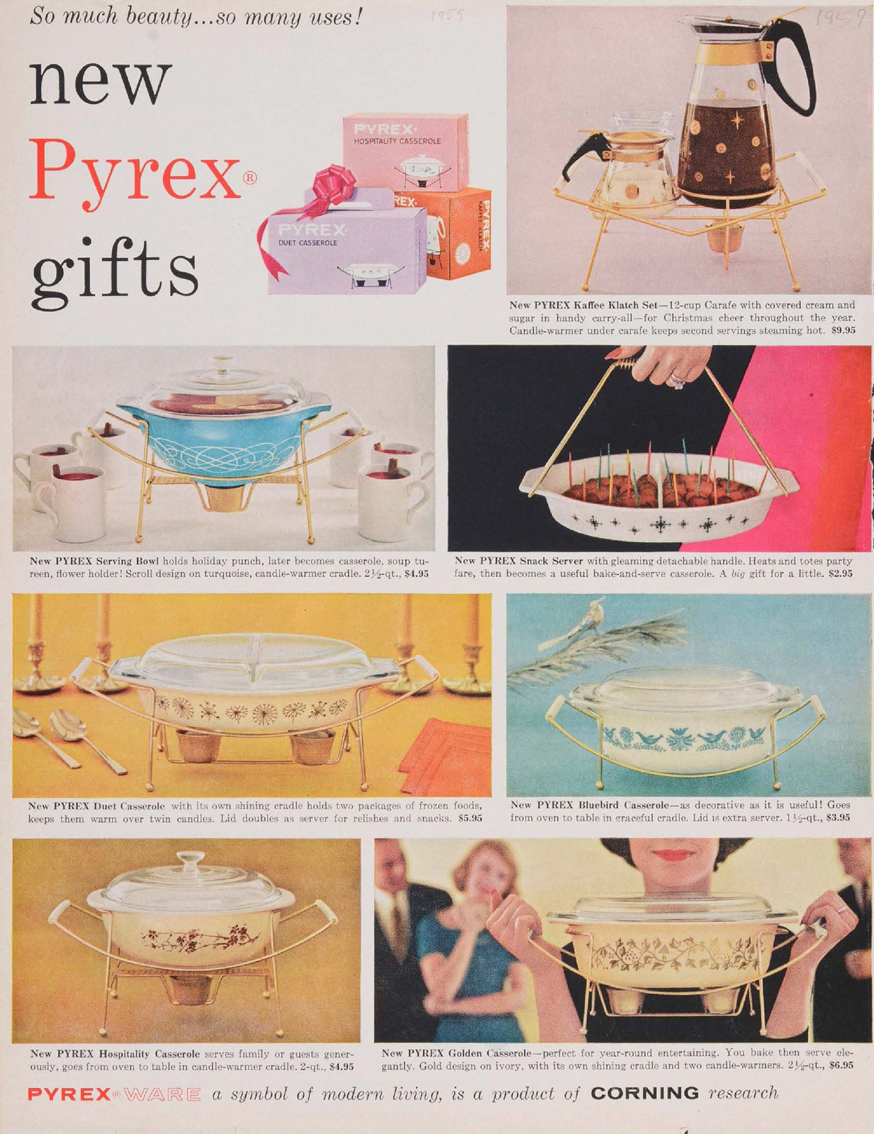"""New Pyrex gifts."" Advertisement from Corning Glass Works, published in unknown periodical, sometime in 1959. CMGL 141182."