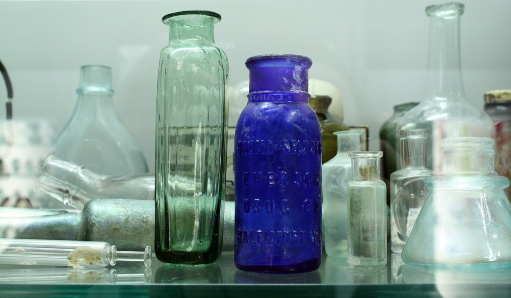 """Bromo-Seltzer Bottle, United States, about 1900. Gift of the University Museum at Florida State University. 61.4.54. """"BROMO-SELTZER / EMERSON / DRUG CO / BALTIMORE, MD"""" on front."""
