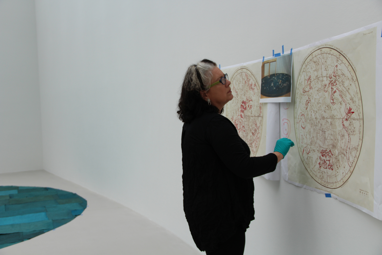 Tina helps install Kiki Smith's Constellation in the new Contemporary Art + Design Wing.