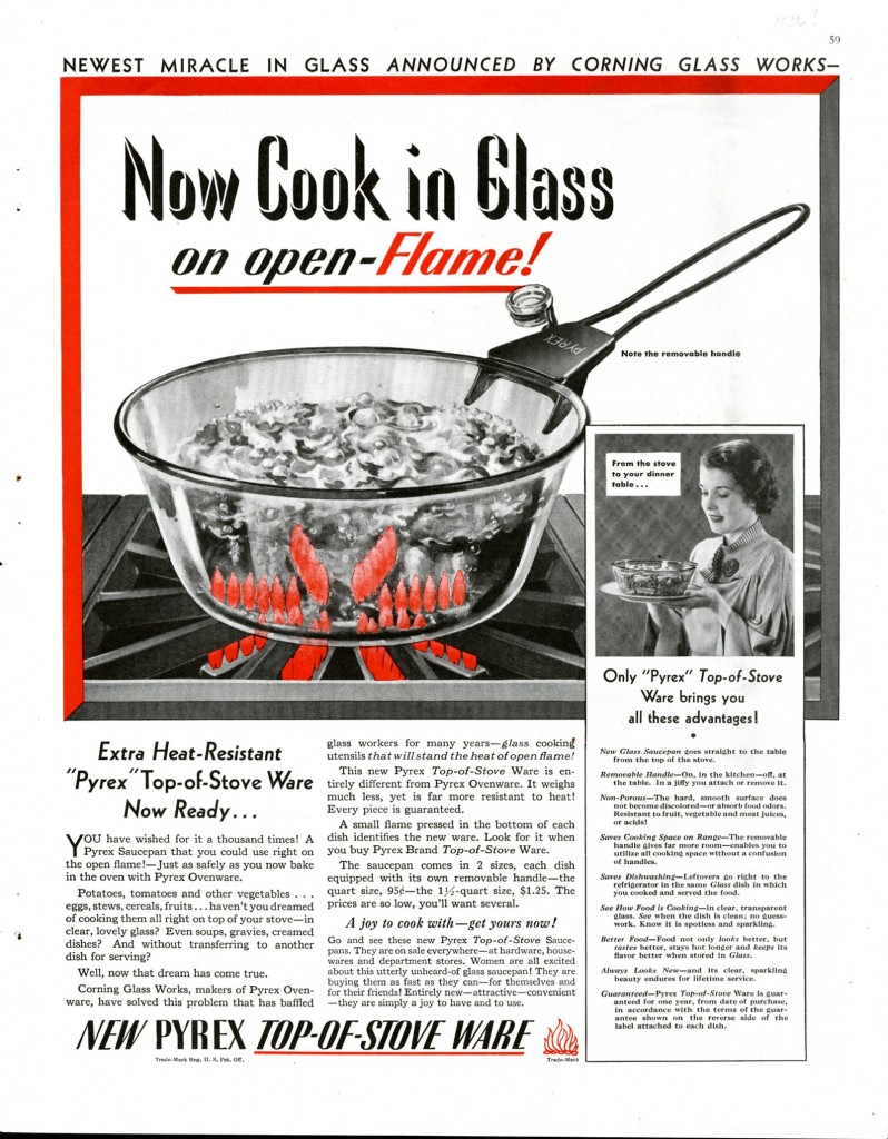 Corning Glass Works. Now cook in glass on open-flame, April 1936, published in Good Housekeeping.