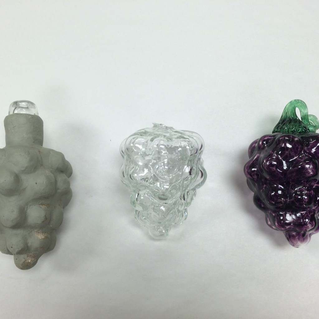 Here you can see the difference material and color make. The left is our final shape in clay. The middle is how the final shape looks in clear glass and the right is the same shape looks in purple glass with a stem.