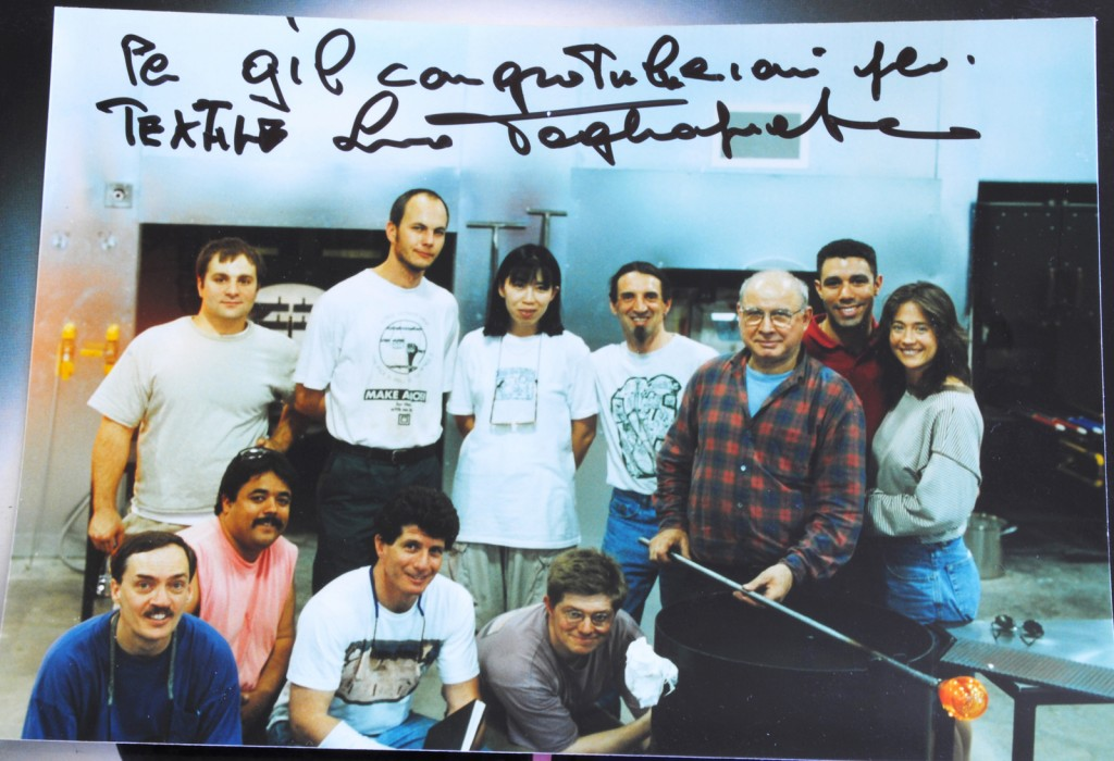 Giles Bettison and his class with Lino Tagliapietra at The Studio in 1996.