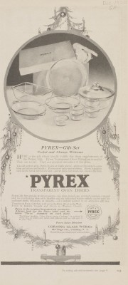 """Pyrex gift set: useful and always welcome."" Advertisement from Corning Glass Works, published in Good Housekeeping, December 1920. CMGL 140355."