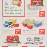 """Bring your Christmas list to the Pyrex ware counter!"" Advertisement from Corning Glass Works, published in Saturday Evening Post, December 1948. CMGL 140903."