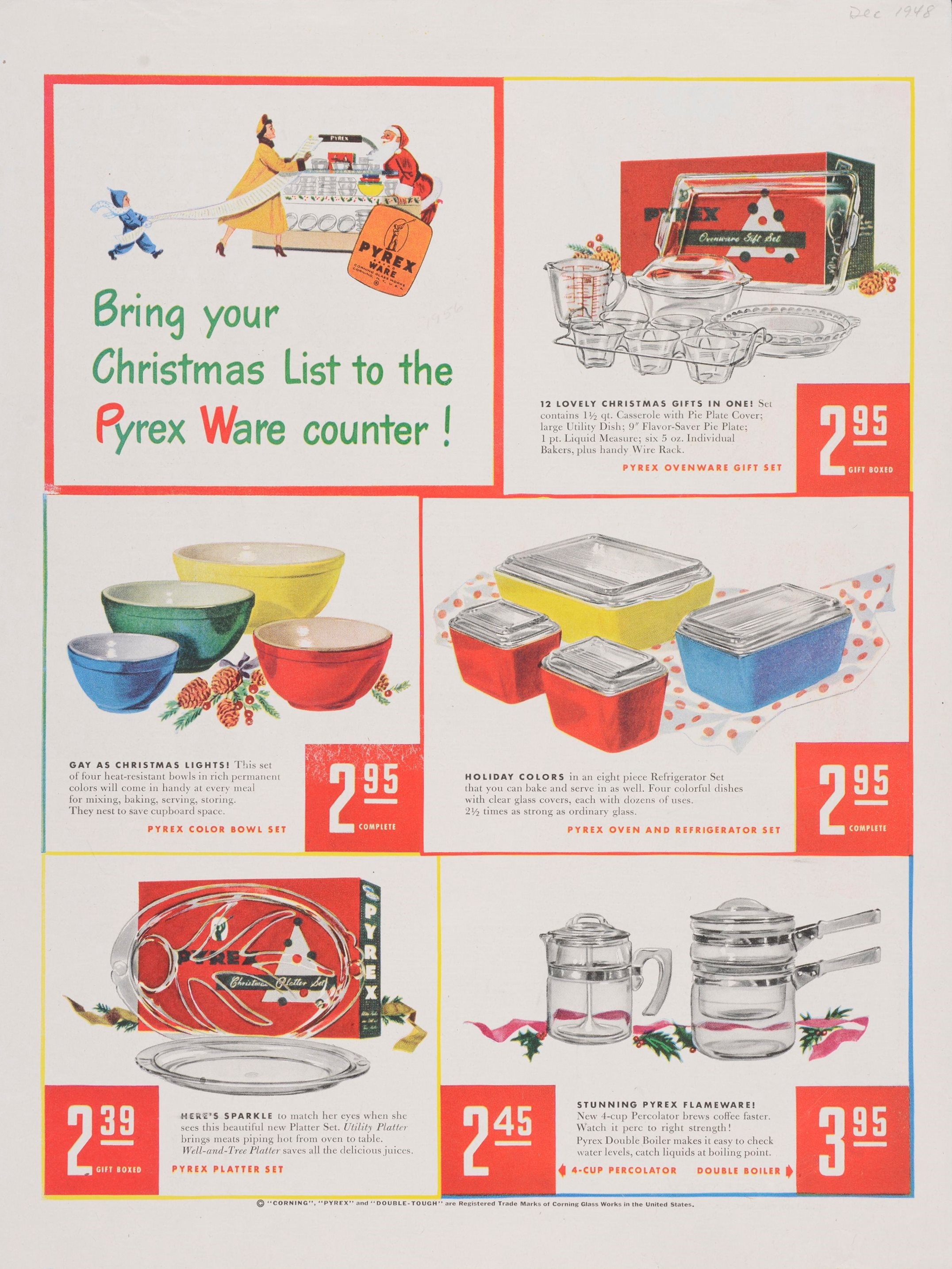 """""""Bring your Christmas list to the Pyrex ware counter!"""" Advertisement from Corning Glass Works, published in Saturday Evening Post, December 1948. CMGL 140903."""