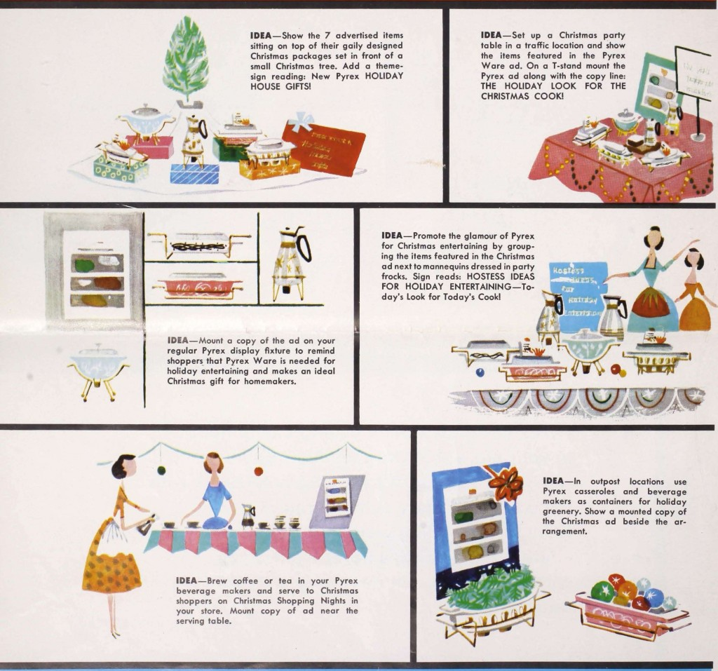 "Detail from page 1 of ""Pyrex Ware Sales Maker: ideas for Christmas 1958."" Insert from Corning Glass Works published in Home Furnishings Daily, September 29, 1958. CMGL 144559."