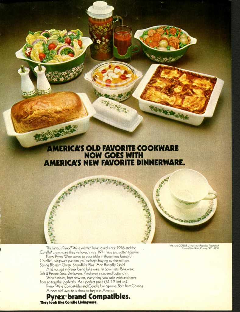 """America's old favorite cookware now goes with America's new favorite dinnerware."" Family Circle, 1972. CMGL 141902."