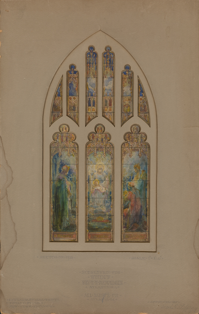 Recent acquisition tiffany studios stained glass design for Window design sketch