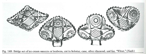 Bridge set of ice cream saucers or bonbons, cut in hobstar, cane, silver diamond, and fan.