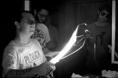 This is a shot of Cesare demonstrating how he makes the amphora shape during his class at The Studio of The Corning Museum of Glass in 1999. Photo by Bandhu Scott Dunham.