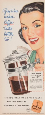 Advertisement for Pyrex percolator from Corning Glass Works, illustrated by Oskar Barshak, published in unknown periodical, 1948. CMGL 140781