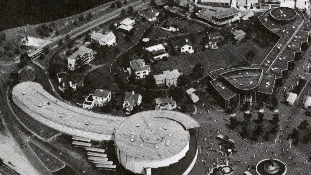 Black and white photograph of the Town of Tomorrow, 15 demonstration houses built in a variety of styles.