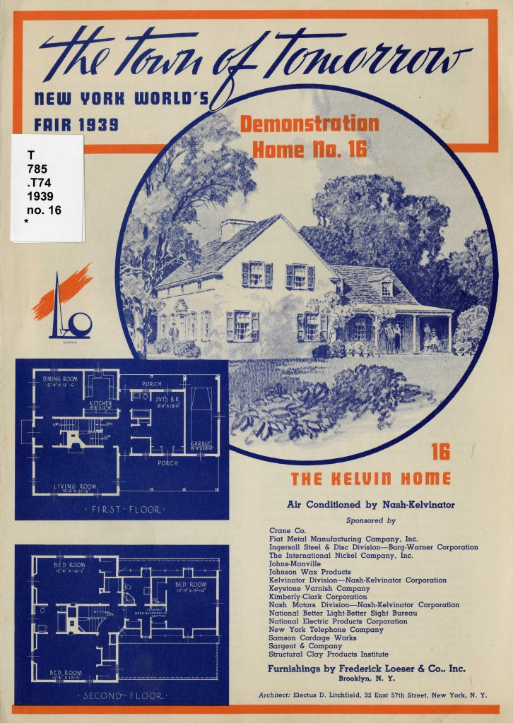 Front page of the pamphlet for the Kelvin Home. Includes an image of the home as well as a floorplan.