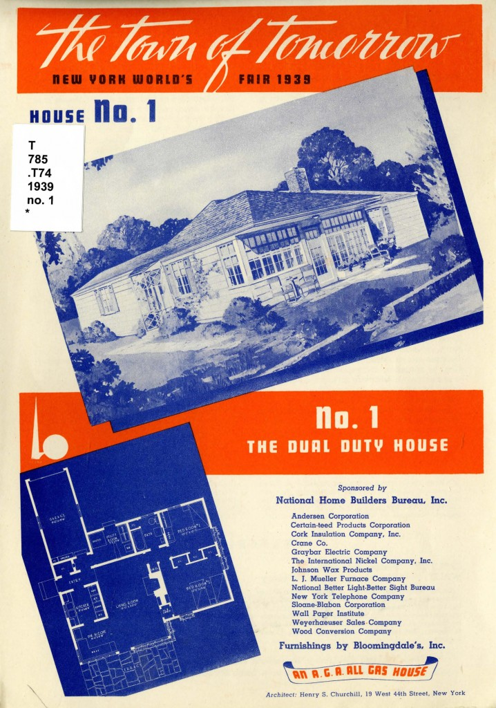 Front page of pamphlet showing a drawing and floor plan for the Dual Duty House
