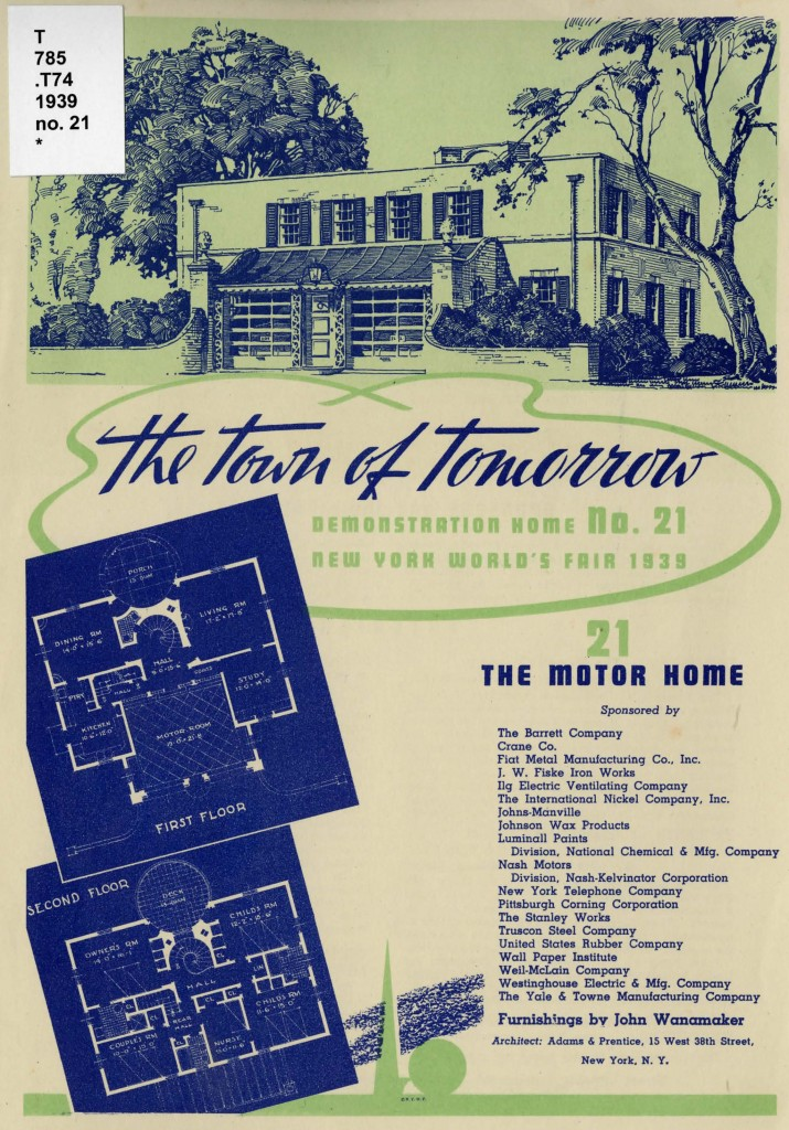 Front page of pamphlet for the Motor Home. Includes an image of the home as well as floorplans.