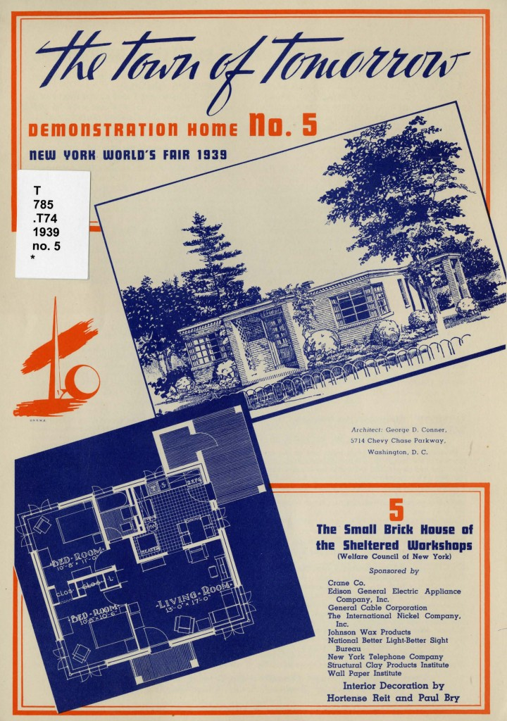 Front page of the pamphlet showing an image and floorplan for the Small Brick House of the Sheltered Workshops