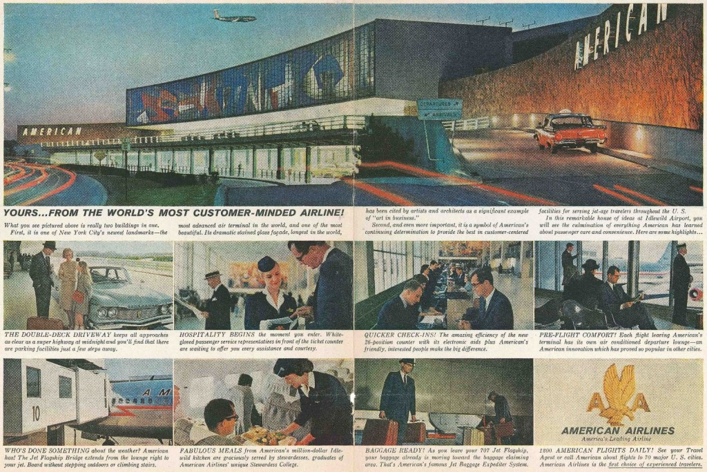 Image of American Airlines Terminal exterior plus several images of airlines staff and passengers
