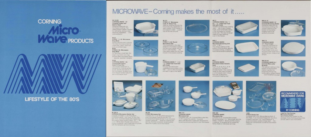 """Corning Micro-Wave products"" brochure (CB-143 9/80MA) from ""Corning 1st half 1981: product specials, new products, nat. advertising, sales promotion"" advertising packet. Published by Corning Glass Works, [1980-1981]. CMGL 119030."