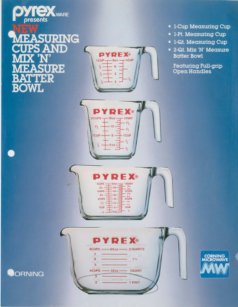 """Pyrex® ware presents new measuring cups and mix 'n' measure batter bowl"" advertisement from Corning, 1983. Gift of digital image from World Kitchen, LLC. CMGL 144844."
