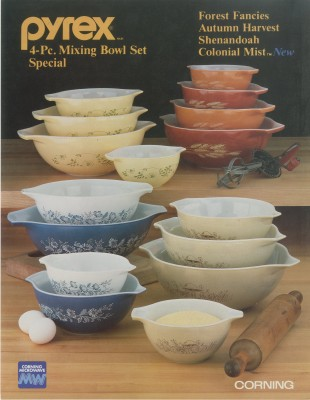 """Pyrex® ware 4-pc. Mixing Bowl Set Special"" advertisment. Published by Corning Glass Works, [1979-1986]. Gift of digital image courtesy of World Kitchen, LLC. CMGL 144845."