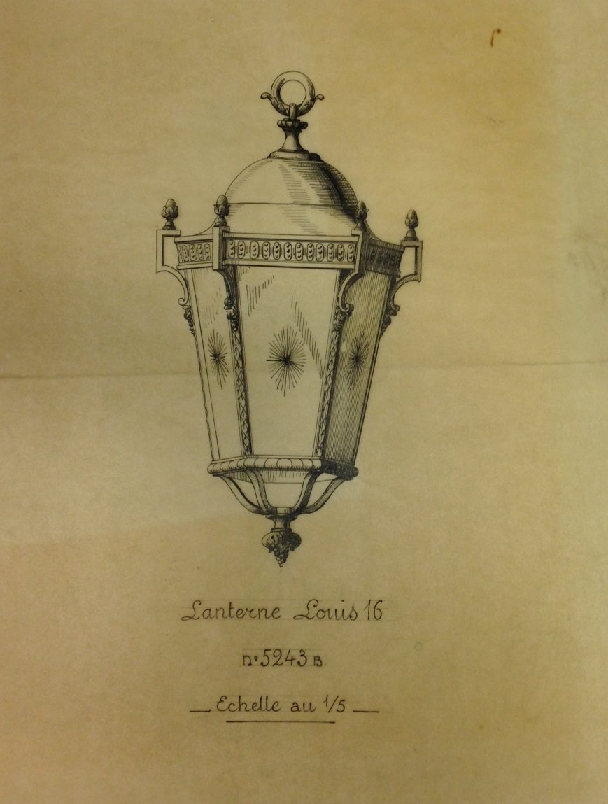 design drawing for lantern behind the glass