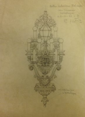 Design drawing for lighting fixture in library