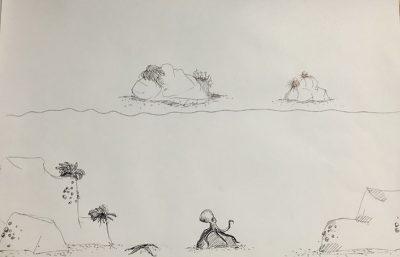 Pen and ink drawings for Vitreous Aquarium
