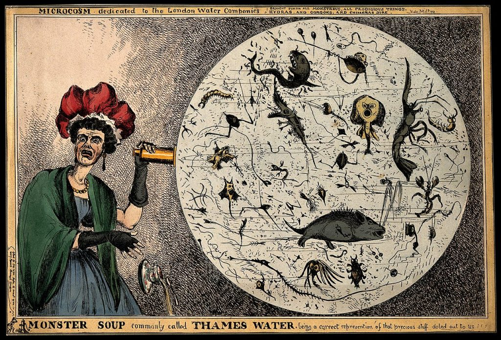 Monster Soup commonly called Thames Water, Coloured etching by W. Heath, 1828.