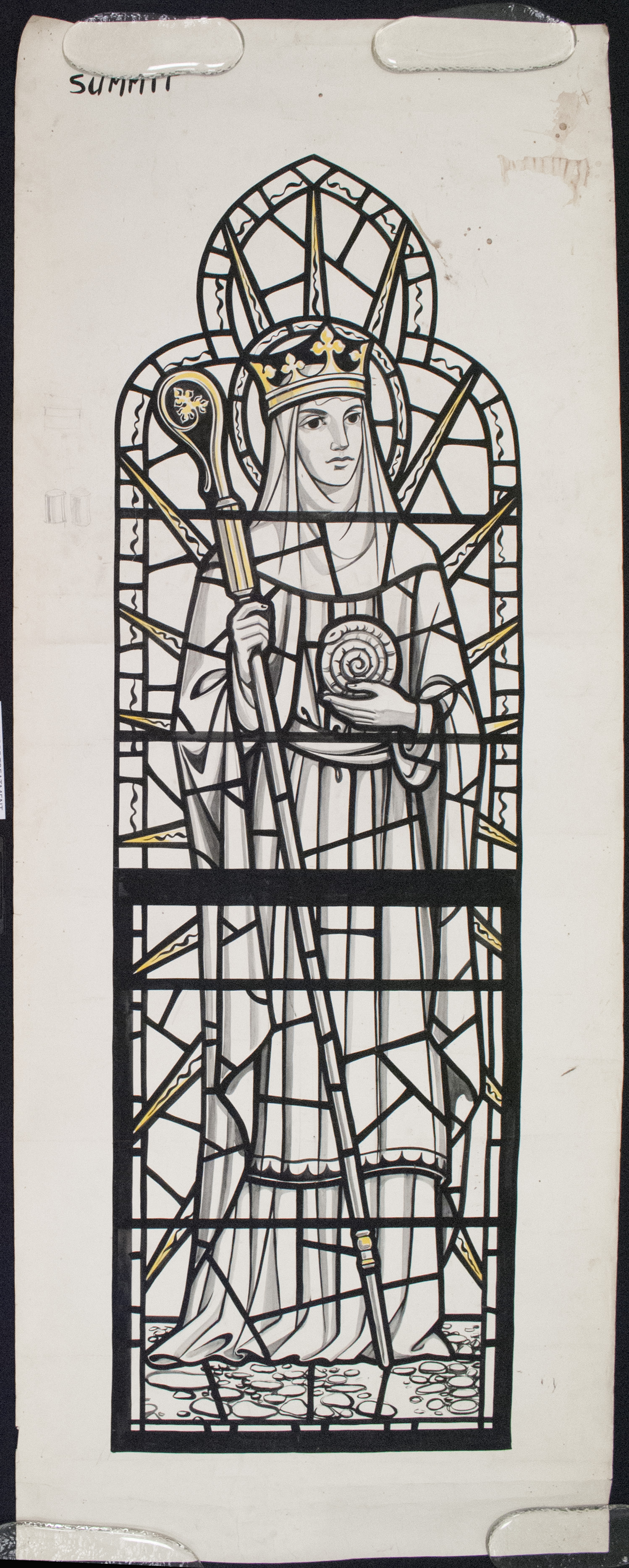 Paper cartoon for St. Hilda in the Rakow Research Library Whitefriars collection.