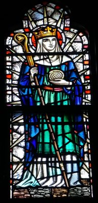 Stained glass window depicting St. Hilda in Calvary Church, Summit, NJ.