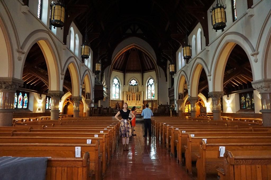 Bonnie gazes up at the spectacular interior of Calvary Church, Summit, NJ.