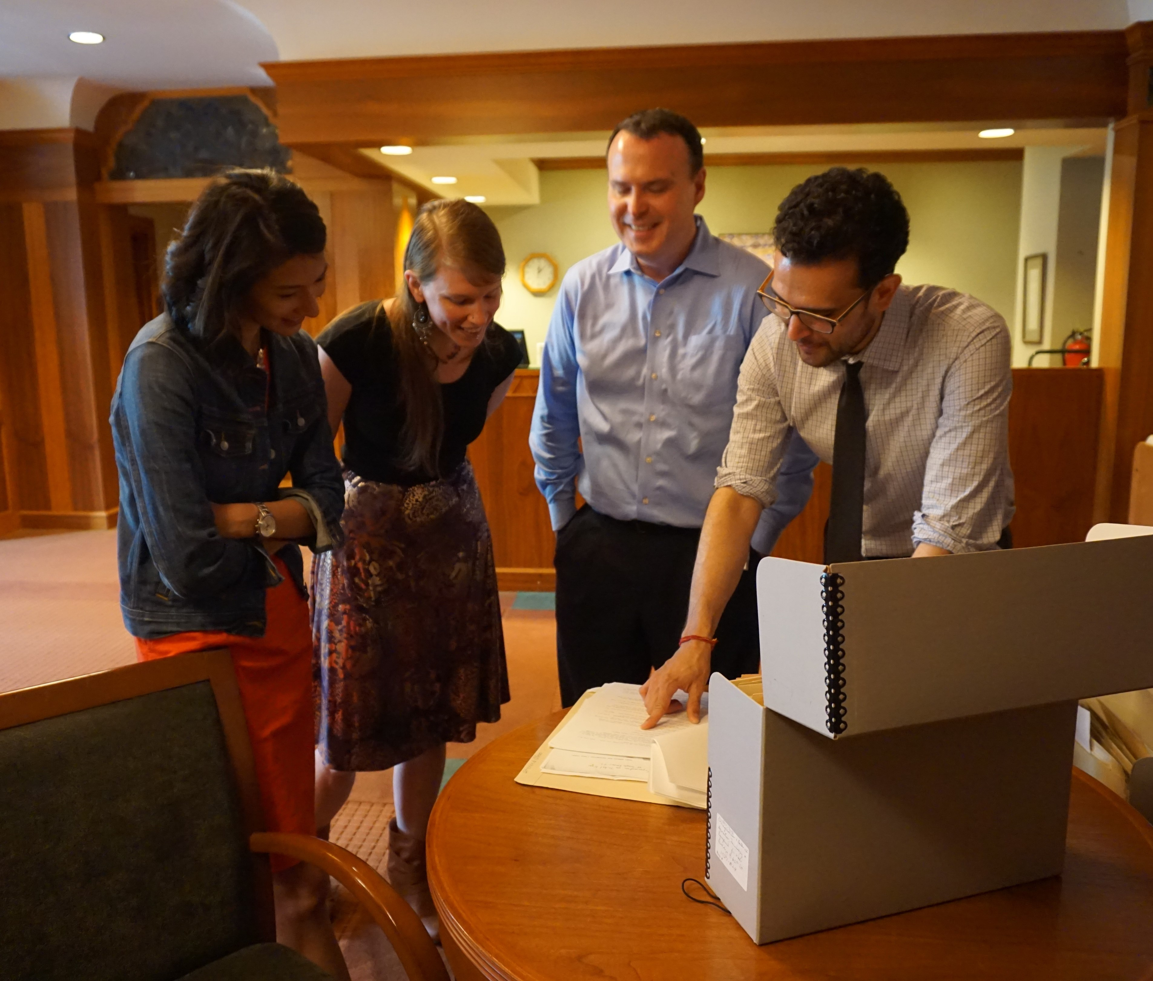 Laura, Bonnie, and Jim check out the archives at Temple Emanu-El with Curator Warren Klein.