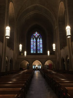 Interior of the Church of the Heavenly Rest, New York City, west end window by Whitefriars.