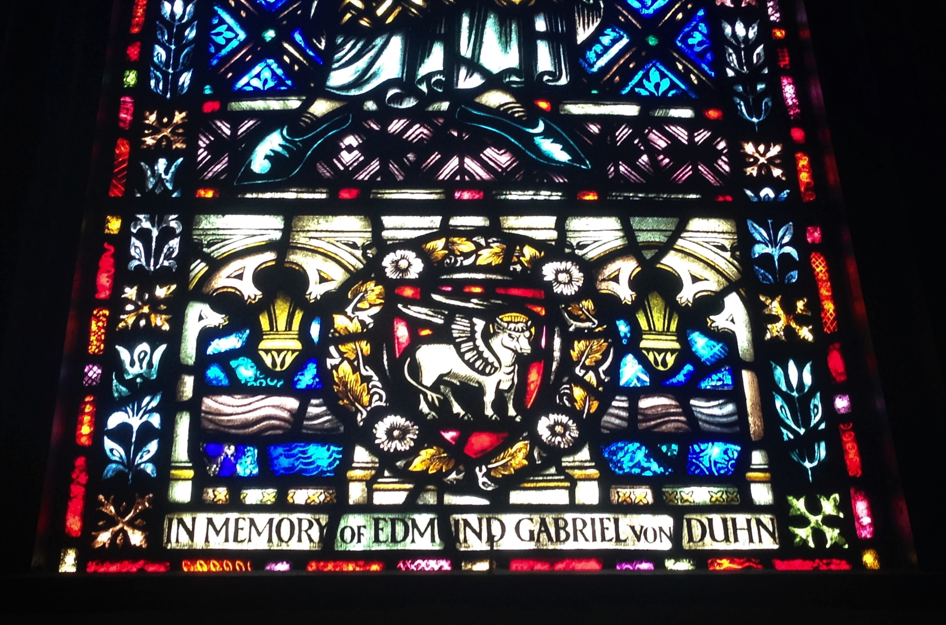 Detail of restored area of St. Luke stained glass window in Calvary Church, Summit, NJ.