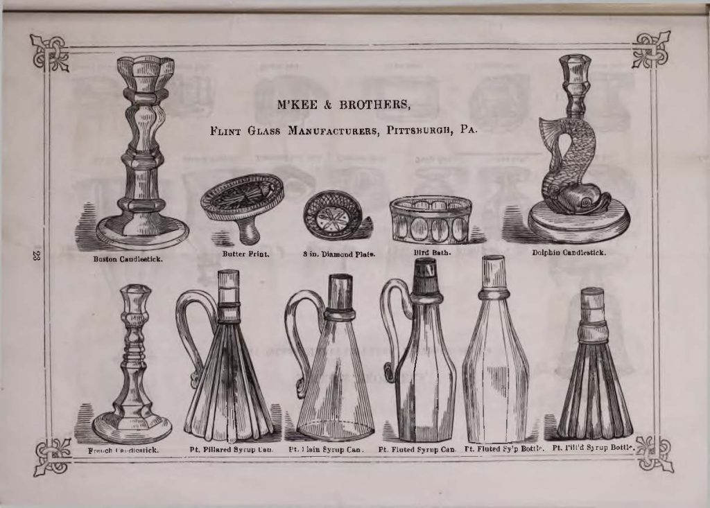1868 catalog page from McKee & Brothers showing a bird bath in crystal.