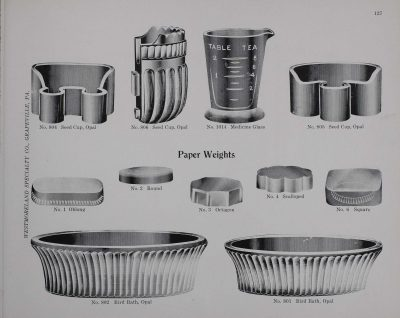 1924 Westmoreland Specialty Company catalog depicting seed cups and bird baths in opal glass.