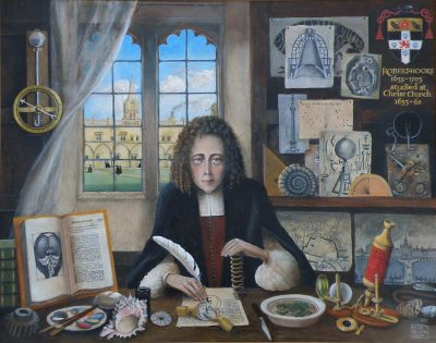 Rita Greer's memorial portrait of Robert Hooke for Christ Church, Oxford, 2010.