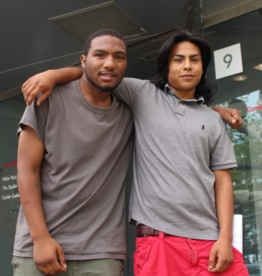 Nkosi Barber (left) with his mentee, Roberto Cisneros (right).