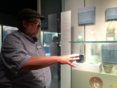 Docent Rich LaVere sharing his glass knowledge.