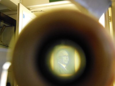 Mr. Whipple, seen through the first telescope he collected