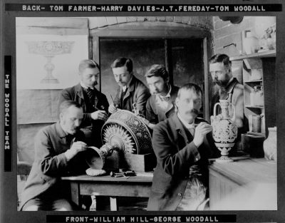 The Woodall team working on The Great Tazza and a two-handed vase, 1891