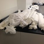 Rolls of objects in the Preservation Lab waiting to be unrolled fully for the very first time!