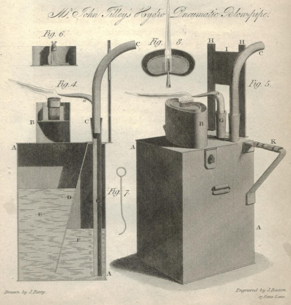Illustration of Tilley's hydro-pneumatic blow-pipe