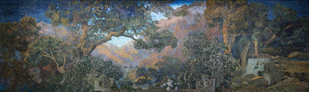 Mural, The Dream Garden, 1916. Tiffany Studios. Glass mosaic. Curtis Publishing Company Building (now The Curtis Center & Dream Garden; mural in the collection of Pennsylvania Academy of Fine Arts (2001.15, partial bequest of John W. Merriam; partial purchase with funds provided by a grant from The Pew Charitable Trusts; partial gift of Bryn Mawr College, The University of the Arts, and The Trustees of the University of Pennsylvania), Philadelphia, Pennsylvania.