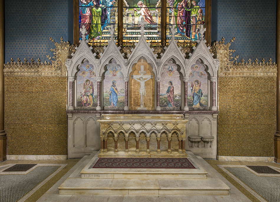Reredos, 1891. Tiffany Glass Company or Tiffany Glass and Decorating Company, designed by Jacob Adolphus Holzer (American, b. Switzerland, 1858–1938). Glass mosaic with glass jewels; marble mosaic. St. Paul's Episcopal Church, Troy, New York.
