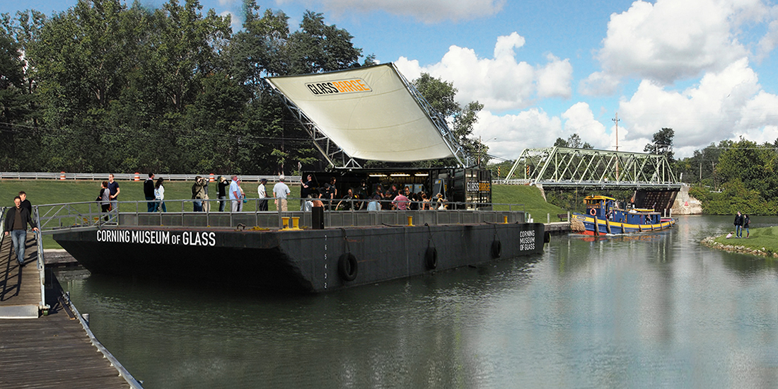 Rendering of the GlassBarge at the Erie Canal.